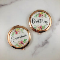 Personalized Rose Gold Compact Mirror