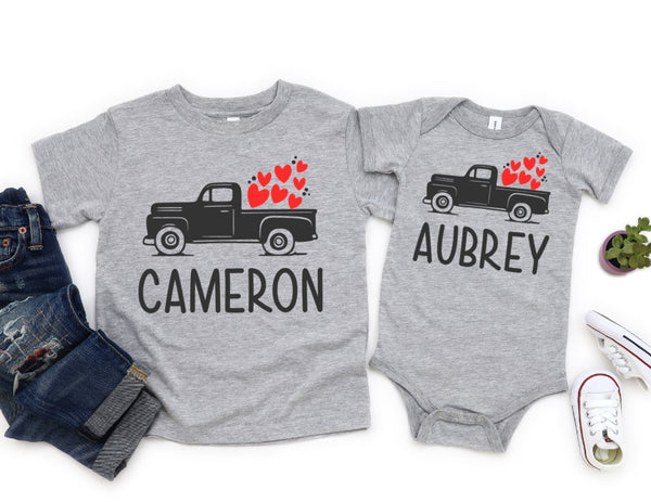 Personalized Valentine's Day Shirt For Kids - Personalized Valentine's Day Truck Shirt