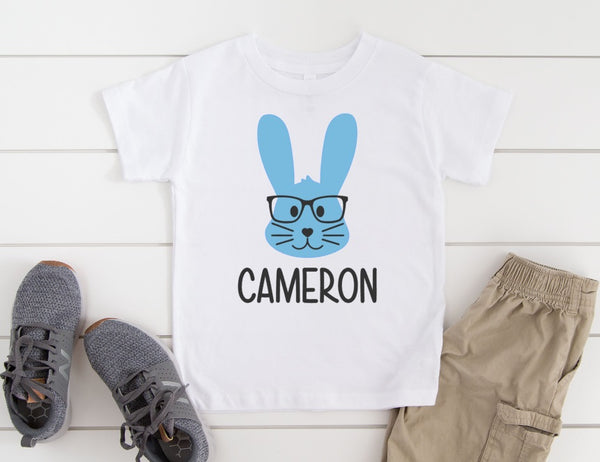 Personalized Bunny with Glasses Shirt - Personalized Easter Shirt for Kids