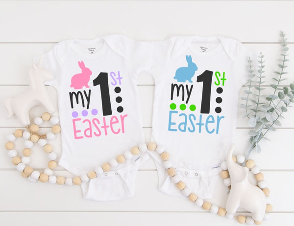My First Easter Baby Bodysuit - Baby's First Easter One Piece