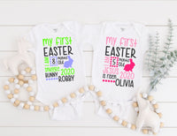 Personalized My First Easter Baby Bodysuit - Personalized Baby's First Easter One Piece