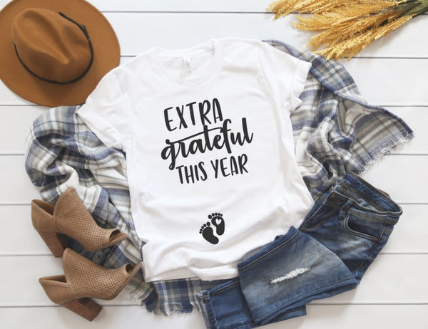Extra Grateful This Year Shirt - Fall Pregnancy Announcement Shirt