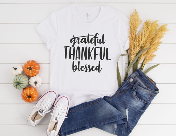 Grateful Thankful Blessed Shirt - Cute Fall Shirt for Women