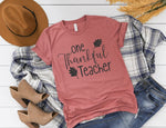 One Thankful Teacher Shirt - Cute Thanksgiving Shirt for Teachers