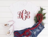 Buffalo Plaid Monogram Shirt - Holiday Monogram Shirt