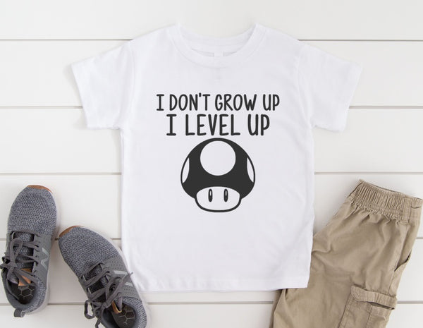 I Don't Grow Up I Level Up Shirt - Birthday Party Shirt for Kids