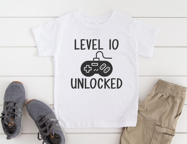 Level Unlocked Shirt - Personalized Birthday Party Shirt for Kids