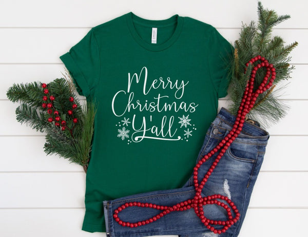 Merry Christmas Y'all Shirt - Cute Holiday Shirt for Women