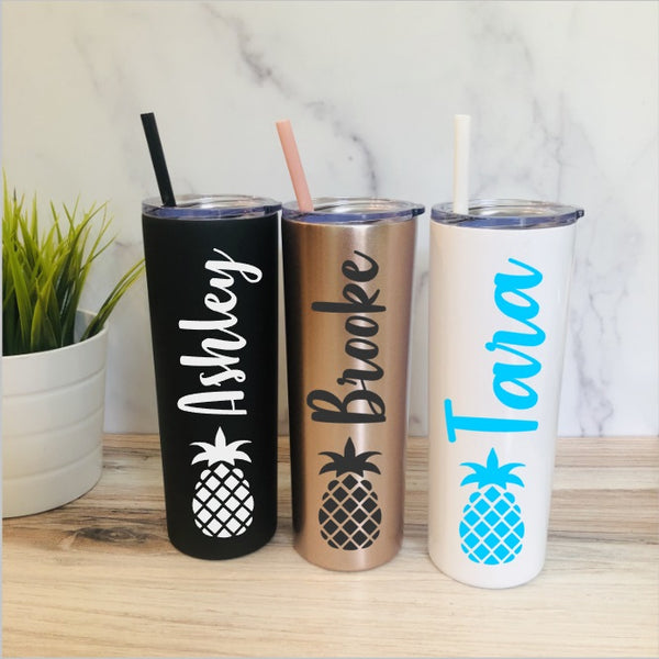 Personalized Pineapple Stainless Steel Tumbler - Personalized Stainless Steel Tumbler - Pineapple Tumbler - Personalized Vacation Tumbler