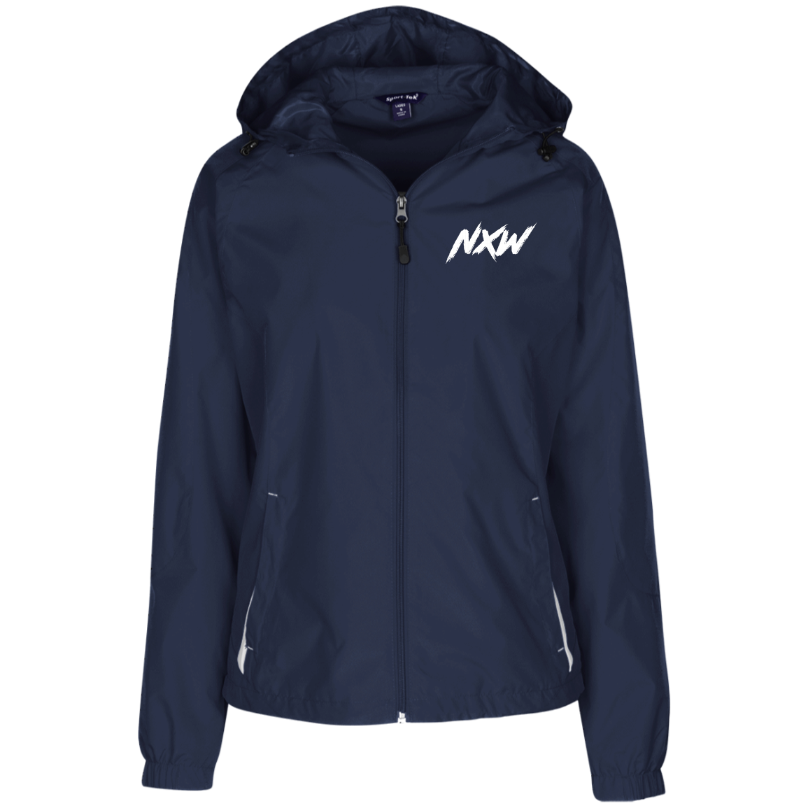 White Font NXW  Ladies' Hooded Windbreaker