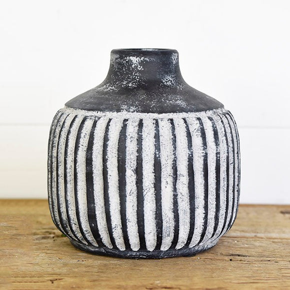 Striped Charcoal Vase