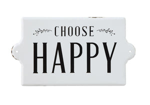 """Choose Happy"" Enameled Wall Decor"