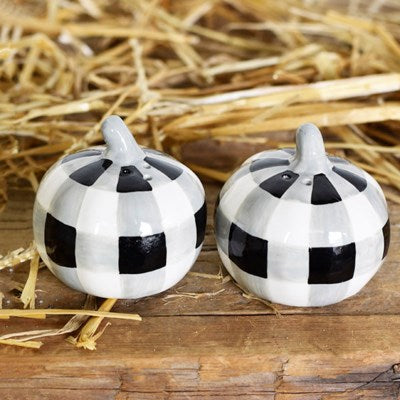 Black & White Pumpkin Salt & Pepper Shaker Set
