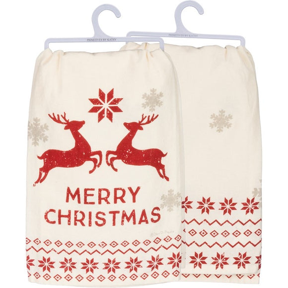 Merry Christmas Nordic Inspired Dish Towel