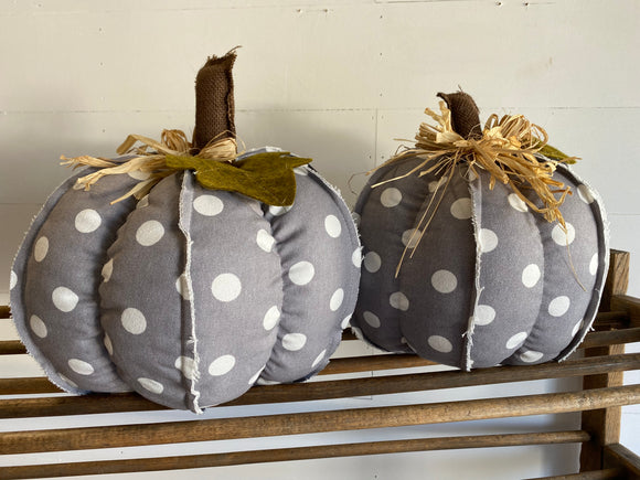 Gray with White Polka Dots Fabric Pumpkins