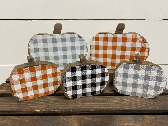 Plaid Wood Pumpkins