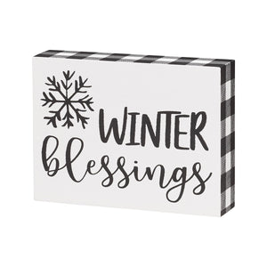 Winter Blessings Block Sign
