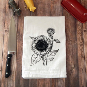 Sunflower Tea Towel - Green Bee Tea Towels
