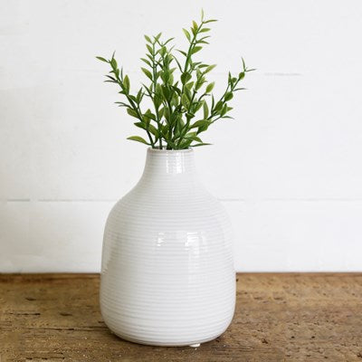 White Striped Vase