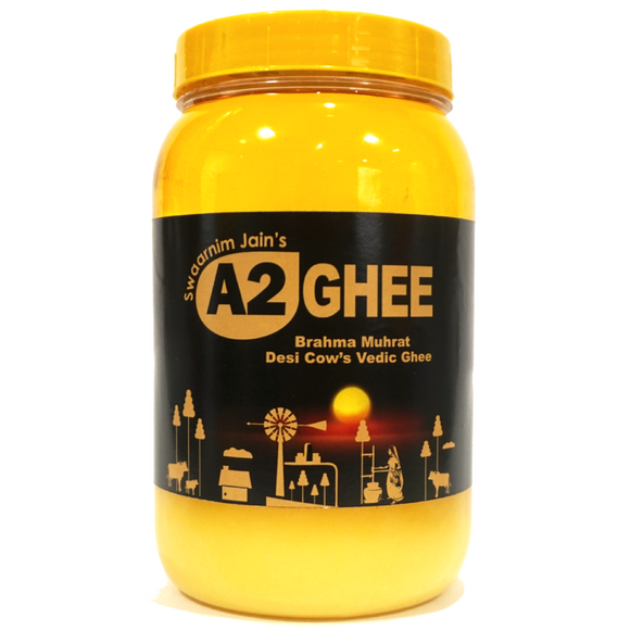 A2 Ghee, Pure Ghee, Gir Cow Ghee, Desi Ghee, Swaarnim Jains' A2 Brahma Muhurta Ghee 1000ml Made from Yogurt