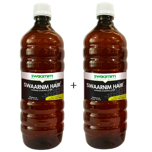 Swaarnim Hair Syrup 950ml - Sugar Free - Pack of 2 - Patented Ayurvedic Syrup