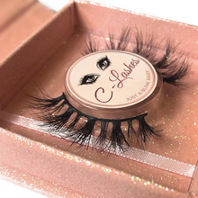 Load image into Gallery viewer, Up close side view of glam from c-lashes in pink square container.