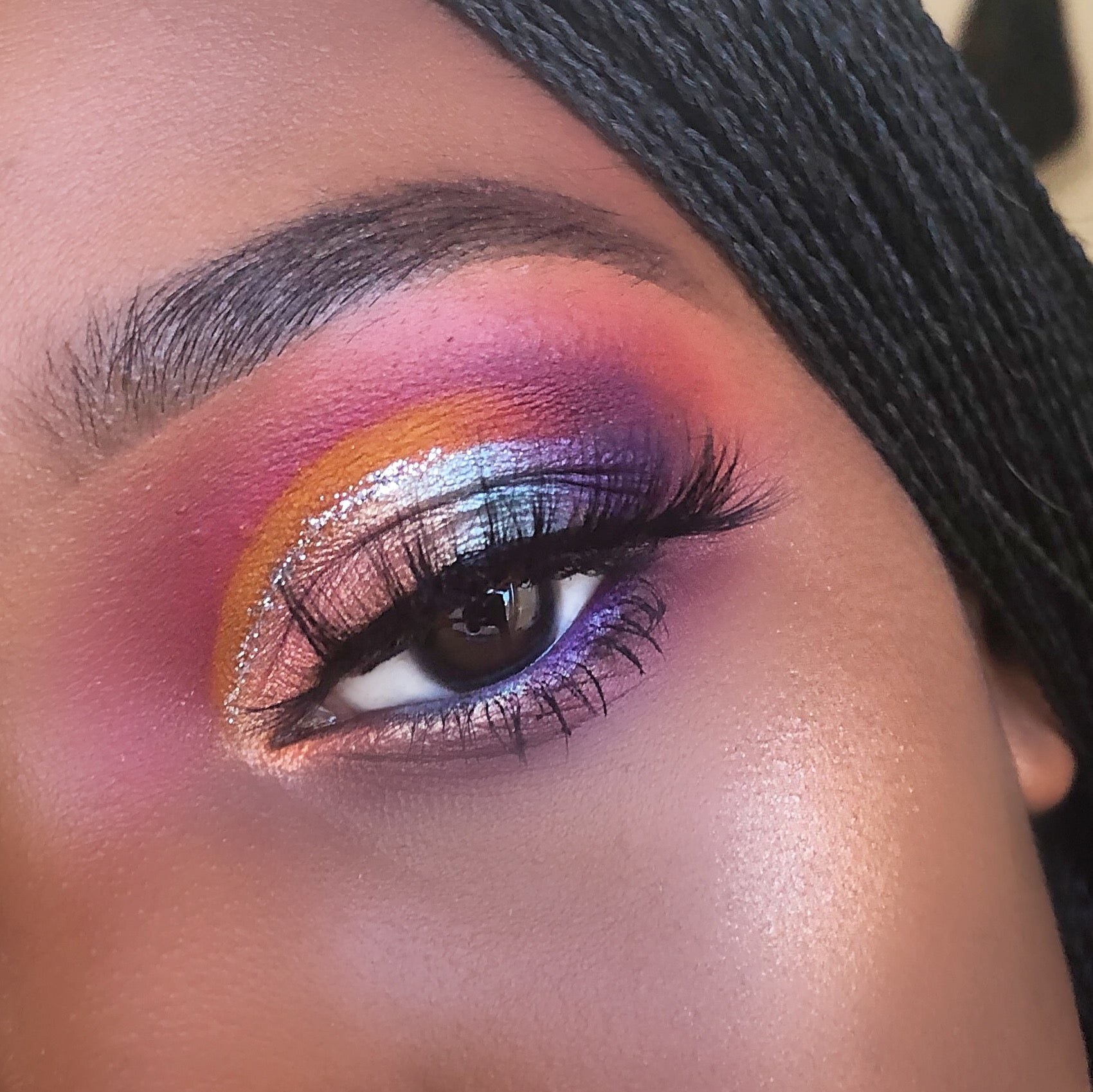 Rainbow eyeshadow look on Chinyere ibelegbu using c-lashes babe .