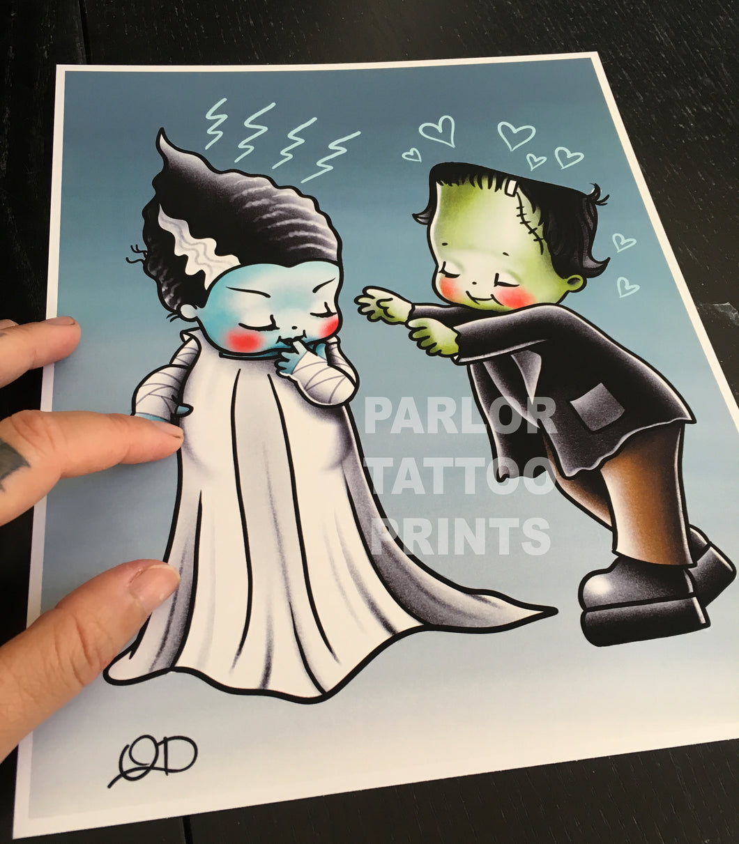 Frankenstein and Bride Kewpie Tattoo Flash Art Print