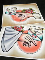 Star Wars Hands and Letters Tattoo Flash Art Print (Choose Your Option)