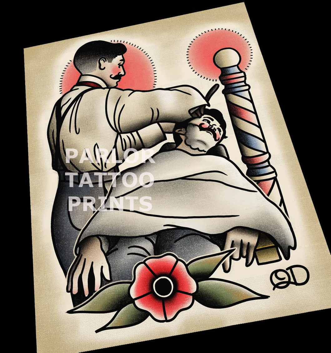 Barber in Suspenders Tattoo Art Print