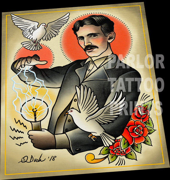 Nikola Tesla Tattoo Flash Art Print