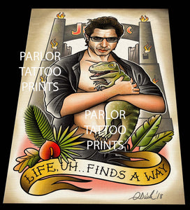 Dr. Ian Malcom (Jeff Goldblum) Tattoo Flash Art Print