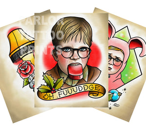 A Christmas Story Tattoo Flash Art Print