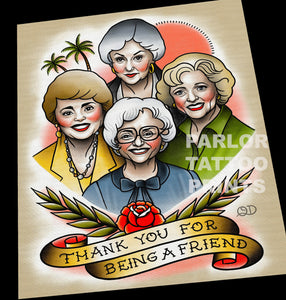 Golden Girls Tattoo Flash Art Print