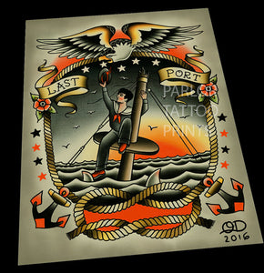 Sinking Sailor Tattoo Art Print