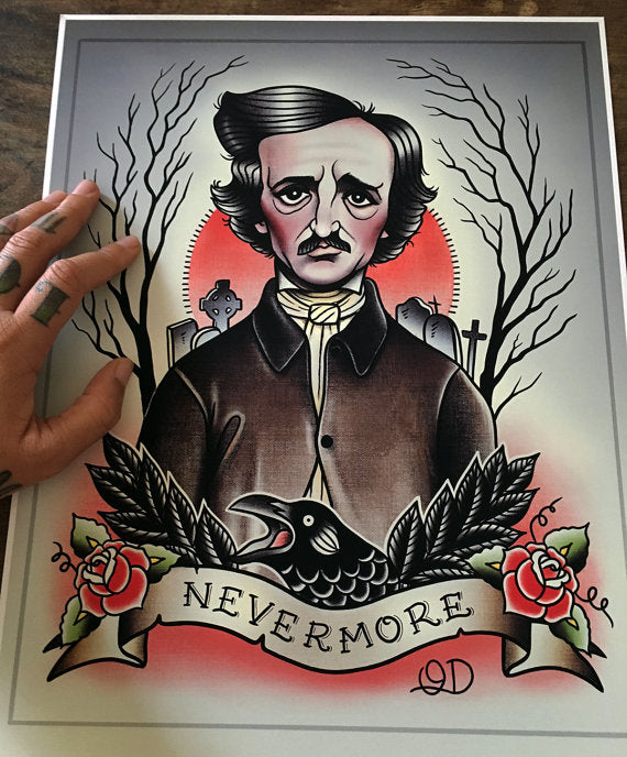 Edgar Allan Poe Tattoo Flash Art Print