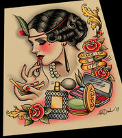 Makeup is Life Tattoo Flash Art