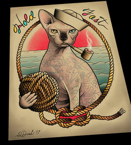 Tatty Catty Sphynx Hairless Cat Tattoo Flash Art Print