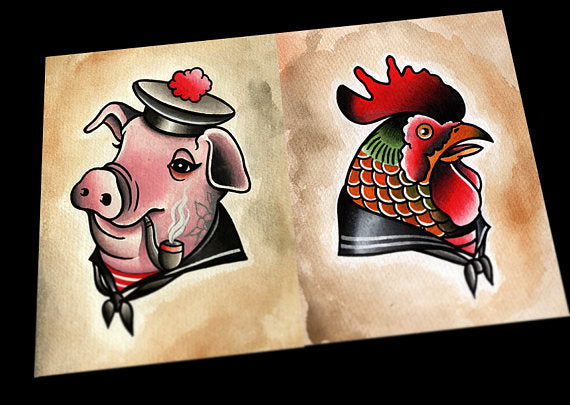 Chicken and Pig Nautical Tattoo Flash Prints