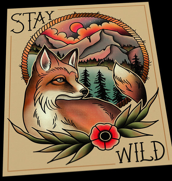 Stay Wild Fox Tattoo Flash Art Print