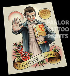 Eleven Stranger Things Tattoo Flash Art Print