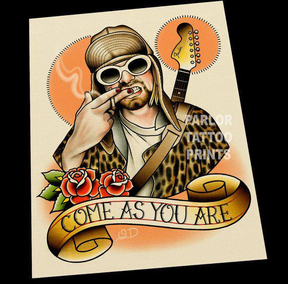 Kurt Cobain Nirvana Tattoo Flash Art Print – Parlor Tattoo Prints