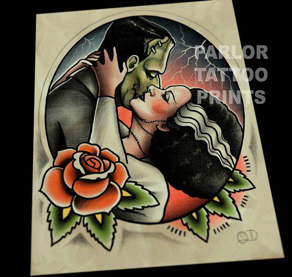 Frankenstein and Bride Tattoo Flash Art Print