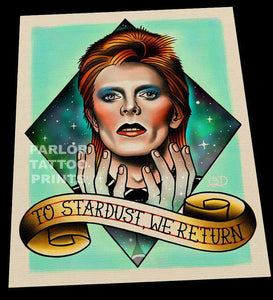 David Bowie Tattoo Flash Art Print
