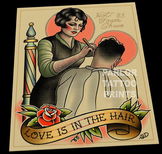 Female Barber Hairstylist (Love is in the Hair) Tattoo Flash