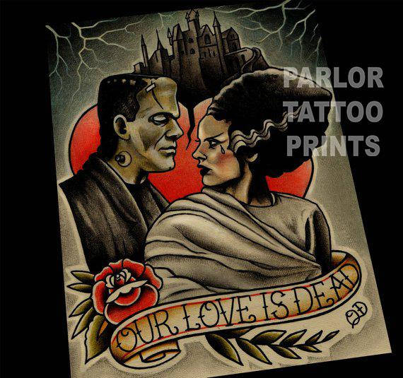 Our Love is Dead Frankenstein and Bride Flash Art Print