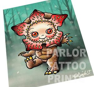 Kewpie Demogorgon Tattoo Flash Art Print