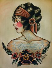 Old School Flapper Tattoo Flash