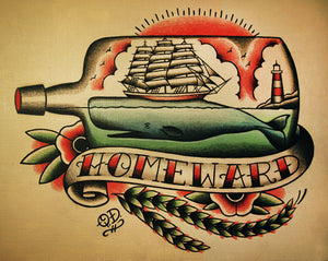 Ship and Whale in a Bottle Nautical Tattoo Flash