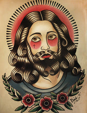 Jesus Color Tattoo Flash Art Print